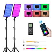Kit-Iluminacao-LED-Weeylite-Sprite-40-RGB-Video-Light-40W-Controle-Remoto---Tripes-2M--Bivolt-